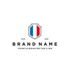 French flag shield logo design vector