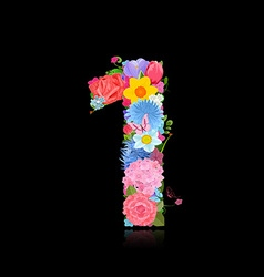 Fun number of fancy flowers on black background 1 vector
