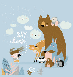 funny cartoon little girl takes pictures animals vector image