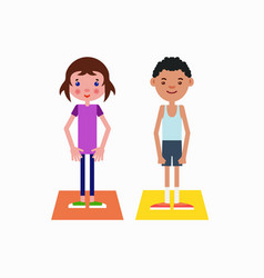 Girl and boy got ready for the physical exercises vector