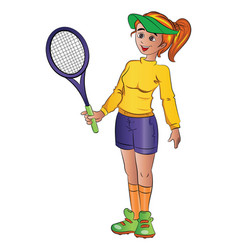 girl playing tennis vector image