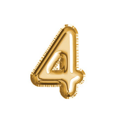 Gold number four air balloon for baby shower vector