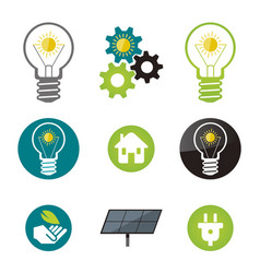 green energy solar power icons vector image