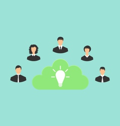 group of business people creating new idea - vector image