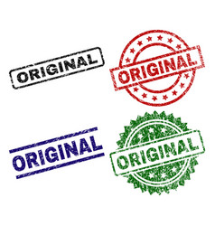 grunge textured original stamp seals vector image