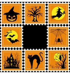 halloween set of stamp on orange black background vector image