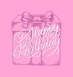 happy birthday hand lettering phrase original vector image