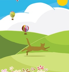 Happy cat run to the hills in sunny day vector image