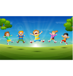 happy children in the morning vector image