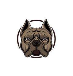 head border bulldog logo template vector image