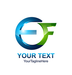 Initial letter ef logo template colored blue vector