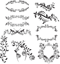 isolated set floral vector image