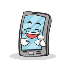 joy face smartphone cartoon character vector image