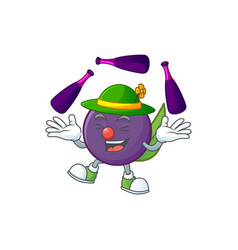 Juggling acai berries character for fresh fruit vector