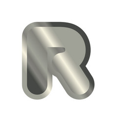 Letter r steel font metal alphabet sign iron abc vector