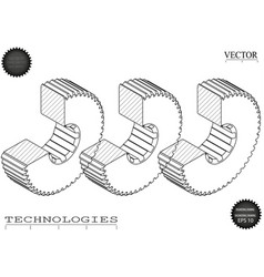 Machine-building drawings on a white background vector