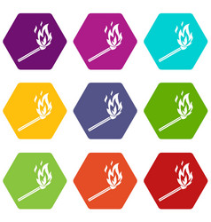 match flame icon set color hexahedron vector image