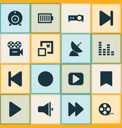 media icons set with audio mixer communication vector image