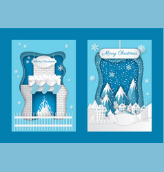 merry christmas postcards fireplace and mountains vector image