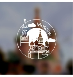 Minimalist round icon moscow russia flat one vector