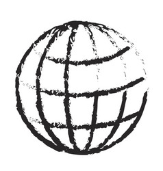 monochrome blurred silhouette of world globe icon vector image
