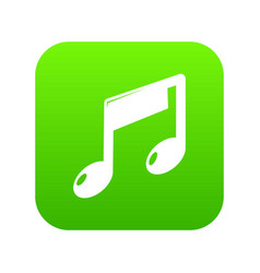 music note icon green vector image