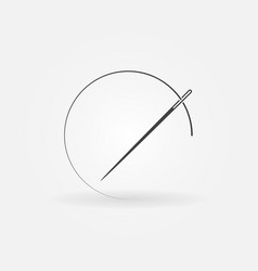 needle and thread round concept icon vector image