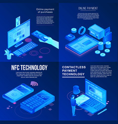 nfc technology banner set isometric style vector image