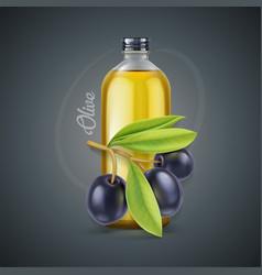 olive oil glass bottle vector image
