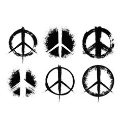 Pacifist peace symbols set painted vector