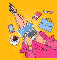 Pop art young woman with laptop work at home vector