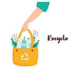 poster with hand holding bag with sorted garbage vector image
