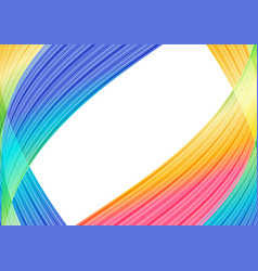 Rainbow striped curves frame on white background vector