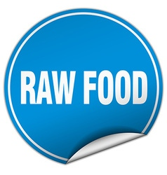 Raw food round blue sticker isolated on white vector