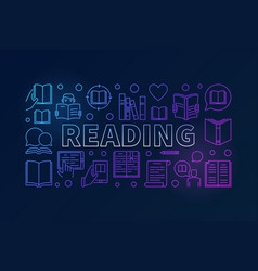 Reading books colorful line banner vector