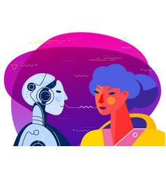 Robotic voice assistant concept banner trendy vector