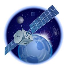 Satellite in orbit vector
