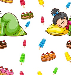 Seamless background with girll sleeping vector