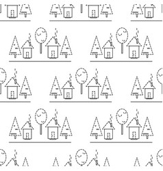 seamless pattern houses on a white background vector image