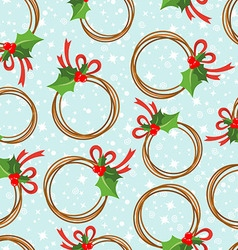 Seamless pattern with a wreath from poinsettia vector