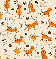 Seamless pattern with cat doing yoga position of vector