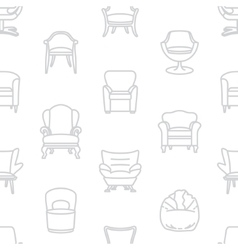 Seamless white pattern of armchairs vector image