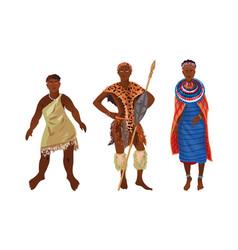 Set aboriginal women and men from africa sunny vector