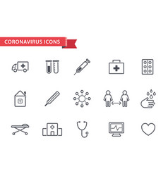 set line coronavirus protection therapy vector image