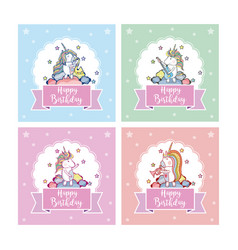 Set of happy birthday card vector