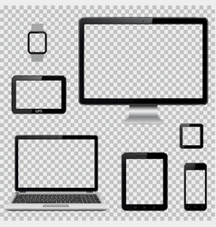 set realistic computer monitor laptop tablet vector image