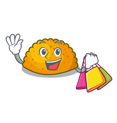Shopping delicious fried patties on plate cartoon vector