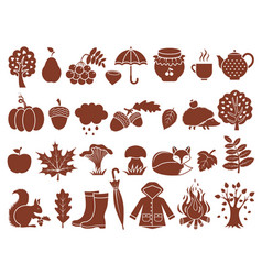 silhouette of autumn symbols monochrome icons set vector image