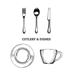 sketch of cutlery and dishes hand drawn vector image