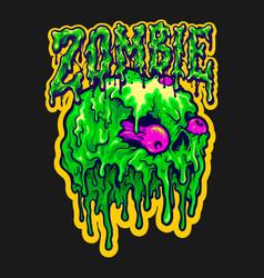 skull zombie melt cartoon vector image
